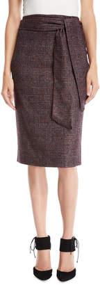 Kiton Check Pencil Wool-Blend Skirt