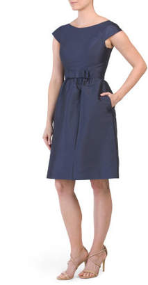 Cap Sleeve Bow Front Dress