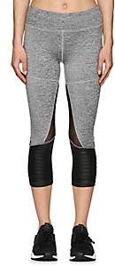 Electric Yoga WOMEN'S COTTON-BLEND CROP BIKER LEGGINGS-GRAY SIZE S