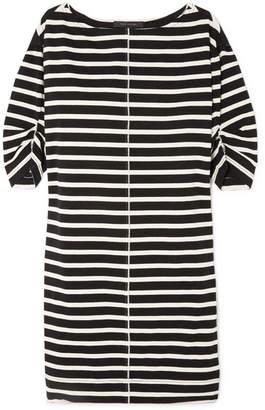 Marc Jacobs Printed Striped Cotton-jersey Mini Dress - Black