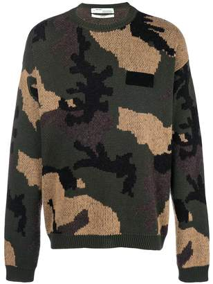 Off-White camouflage intarsia sweater