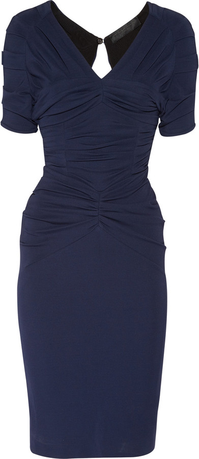 Burberry Ruched stretch-crepe dress