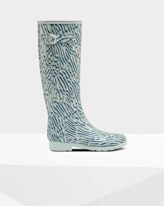 Hunter Women's Refined Slim Fit Coral Print Tall Wellington Boots