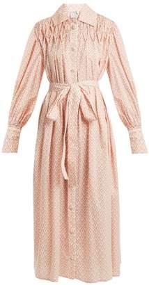 Horror vacui Horror Vacui - Smocked Cotton Poplin Shirtdress - Womens - Cream Multi