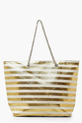 boohoo Metallic Stripe Rope Handle Beach Bag
