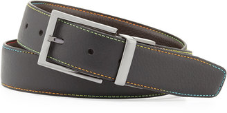 Robert Graham Summerland Topstitched Leather Belt, Black $70 thestylecure.com