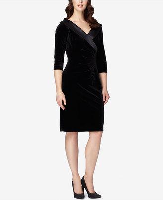 Tahari ASL Surplice Portrait-Collar Velvet Sheath Dress $134 thestylecure.com