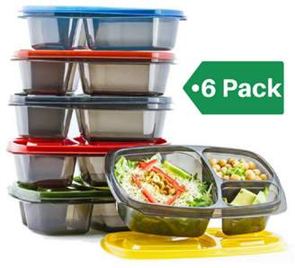 Mealports Bento Box Lunch Containers for Meal Prep & Portion Control. 3 Compartment Lunch Boxes for kids & Adults. Divided Food Storage, Microwavable, Stackable, Reusable