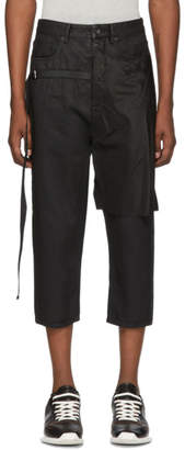 Rick Owens Black Combo Collapse Cropped Jeans