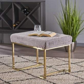 Noble House Lily Glam Furry Bench with Metal Legs,Gold,Grey