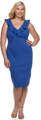 Wrapper Juniors' Plus Size Ruffle Ponte Midi Dress