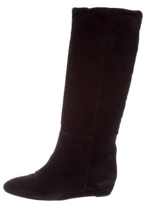Loeffler Randall Suede Knee-High Wedge Boots