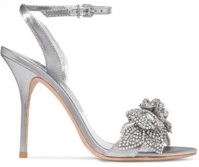 Sophia Webster - Lilico Embellished Lamé Sandals - Silver
