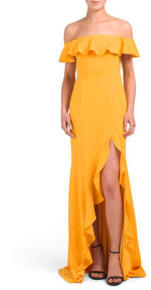 Ruffle Detail Crepe Gown