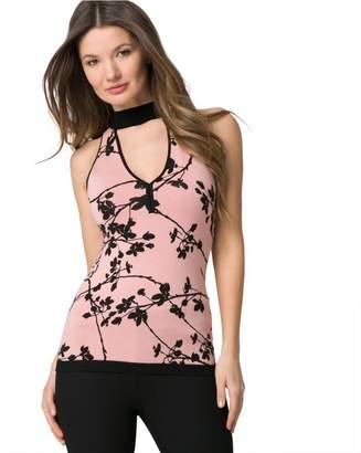 Le Château Women's Floral Print Cutout Mock Neck Sweater,XL