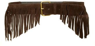 JJ Winters Farrah Italian Calf Suede Fringe Stretch Belt $197.50 thestylecure.com