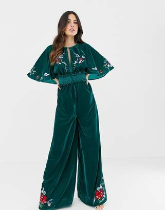 Asos Design DESIGN velvet kimono jumpsuit with embroidery and embellishment