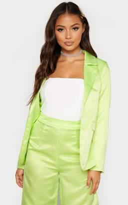 PrettyLittleThing Petite Pale Lime Satin Oversized Blazer
