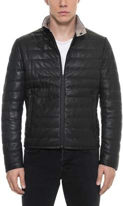 Forzieri Black Quilted Leather Men's Jacket