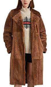 Helmut Lang Women's Belted Shearling Long Coat - Brown