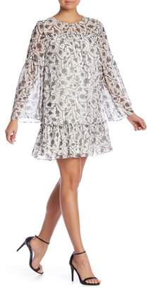Kensie Printed Ruffle Shift Dress