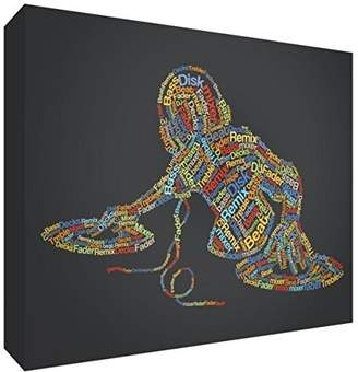Camilla And Marc Feel Good Art Premium Gallery-Wrapped Box Canvas with Solid Front Panel in Unique Typographic Male DJ Design, Wood, Multi-Colour, 91 x 60 x 3 cm