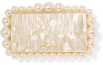 Cult Gaia Eos Faux Pearl-embellished Marbled Acrylic Clutch - White