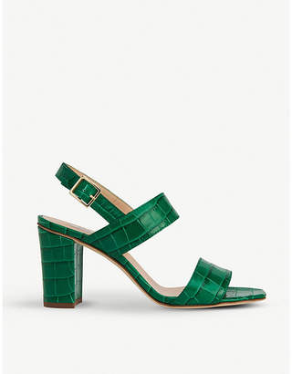 LK Bennett Rhiannon crocodile-embossed leather heeled sandals