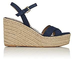 Barneys New York WOMEN'S SUEDE PLATFORM-WEDGE ESPADRILLE SANDALS - DK. BLUE SIZE 9