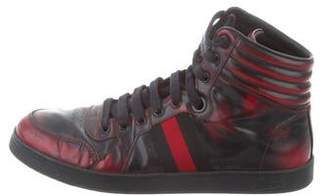 9324ed2a09e Gucci Patent Leather Web-Trimmed Sneakers