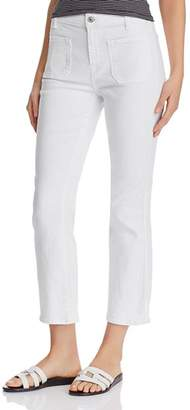 7 For All Mankind High Waist Slim Kick Jeans in White Runway Denim