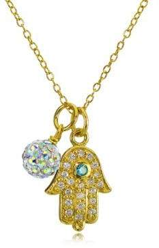 Lord & Taylor Hamsa Charm and Fireball Pendant Necklace
