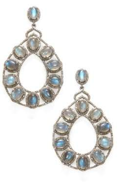 Silver, Moonstone & Diamond Teardrop Earrings