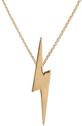 Lightning Bolt Edge Only Pointed Pendant Long Gold