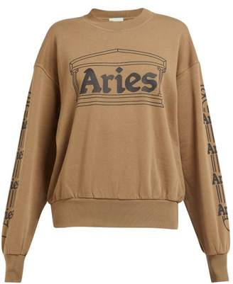 Aries Logo Print Cotton Sweatshirt - Womens - Green