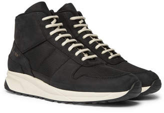 Common Projects Track Vintage Nubuck And Mesh High-Top Sneakers