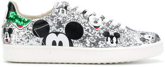 Moa Mickey Glittered Leather Sneakers