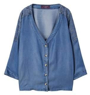 Violeta BY MANGO Embroidered denim blouse