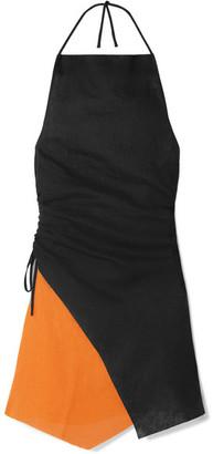 Marques Almeida Marques' Almeida - Ruched Two-tone Linen Halterneck Mini Dress - Black