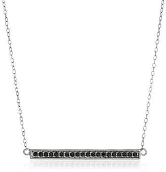 "Swarovski Sterling Silver Gunmetal Finish Horizontal Bar Necklace Made with Crystal (18"")"