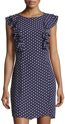 Donna Morgan Ruffle-Sleeve Polka-Dot Shift Dress, Blue Pattern $89 thestylecure.com