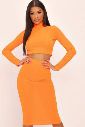 be45a9c187 I SAW IT FIRST Orange Ribbed Midi Skirt