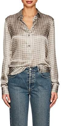 Giorgio Armani Women's Checked Silk Blouse - Gray