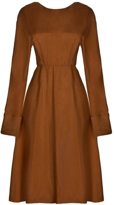 Sarvin Shay Gold Hand-Crafted Long Sleeve Backless Midi Dress