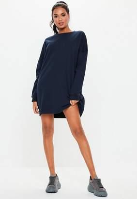 Missguided Navy Crew Neck Sweater Dress
