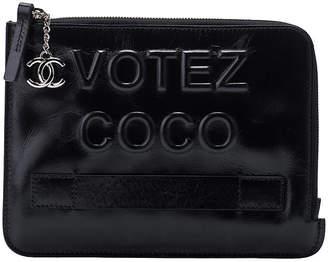 8ae4685e64c9 One Kings Lane Vintage Chanel Votez Coco Black Clutch - Vintage Lux
