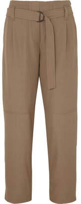 Brunello Cucinelli Belted Wool-blend Gabardine Pants - Brown