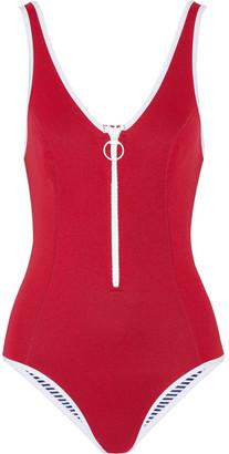 Duskii - Sicily Neoprene Swimsuit - Claret $205 thestylecure.com