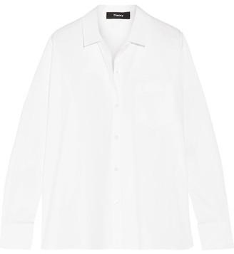 Theory - Lourah Stretch-cotton Poplin Shirt - White $265 thestylecure.com