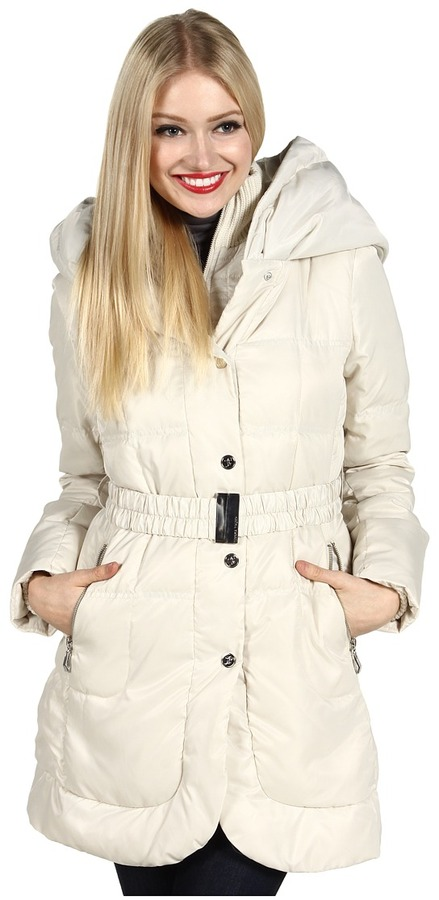 Ivanka Trump Hooded Knit Collar Down Coat (Ivory) - Apparel
